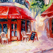 """Картины и панно ручной работы. Ярмарка Мастеров - ручная работа Картина """"Уютное кафе"""" масло, холст, оргалит 20х15 см. Handmade."""