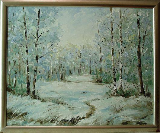 Пейзаж ручной работы. Ярмарка Мастеров - ручная работа. Купить зима. Handmade. Белый, картина, картина в подарок, картина для интерьера