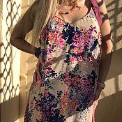Одежда handmade. Livemaster - original item Summer sundress flying from cotton-Flowers on a beige background. Handmade.