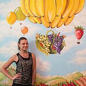 Дизайн и реклама handmade. Livemaster - original item Wall painting in the kitchen fruit Surrealism landscape. Handmade.