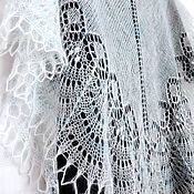 Аксессуары ручной работы. Ярмарка Мастеров - ручная работа Ажурная шаль вязаная пуховая Свадебная, белая мохеровая шаль спицами. Handmade.