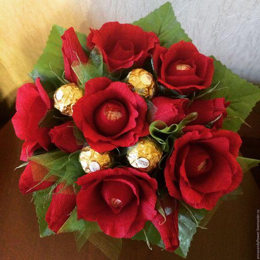 Букеты ручной работы. Ярмарка Мастеров - ручная работа. Купить Букет из красных роз. Handmade. Бордовый, подарок девушке