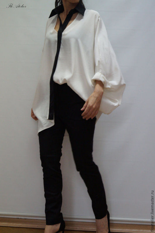 Блузки ручной работы. Ярмарка Мастеров - ручная работа. Купить Черно-белая рубашка/Экстравагантная рубашка/F1252. Handmade. Белый, рубашка женская