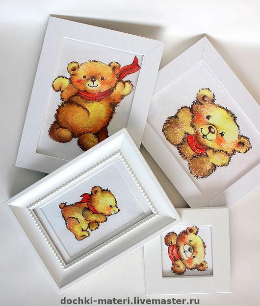 """Детская ручной работы. Ярмарка Мастеров - ручная работа. Купить Набор картин """"Мишки для малышки"""". Handmade. Детская, бумага"""