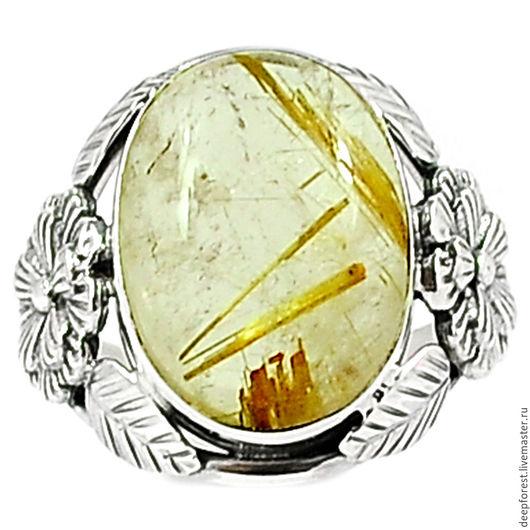 Кольца ручной работы. Ярмарка Мастеров - ручная работа. Купить Кольцо Рутиловый кварц в серебре. Handmade. Рутиловый кварц