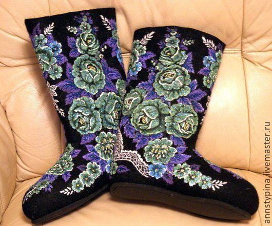 Обувь ручной работы. Ярмарка Мастеров - ручная работа. Купить под платок 11. Handmade. Черный, валенки, роспись
