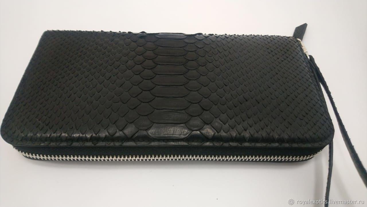 Purse clutch bag, Python skin, black color, Wallets, Tosno,  Фото №1