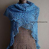 Аксессуары ручной работы. Ярмарка Мастеров - ручная работа Голубая шаль. Handmade.