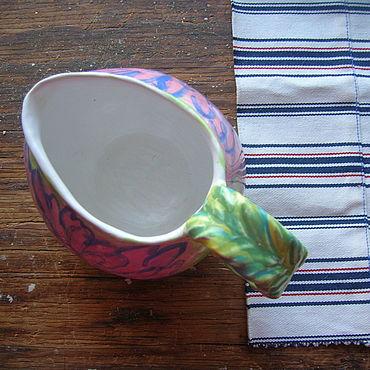 """Посуда ручной работы. Ярмарка Мастеров - ручная работа Сливочник """"Розовая Хризантема"""". Handmade."""
