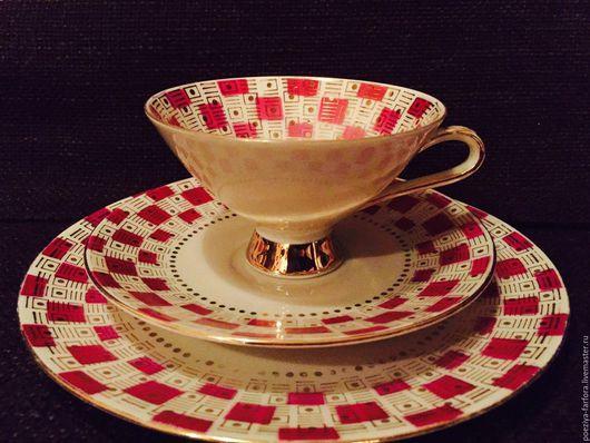 Винтажная посуда. Ярмарка Мастеров - ручная работа. Купить Чайное трио Винтерлинк. Handmade. Комбинированный, чайная пара, фарфор