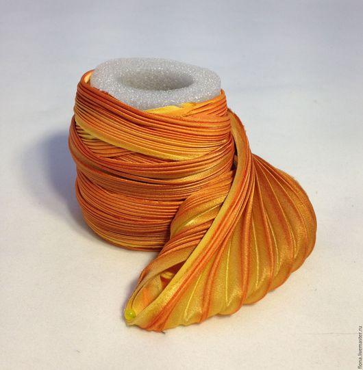 Для украшений ручной работы. Ярмарка Мастеров - ручная работа. Купить Лента Шибори N 136. Handmade. Оранжевый, лента
