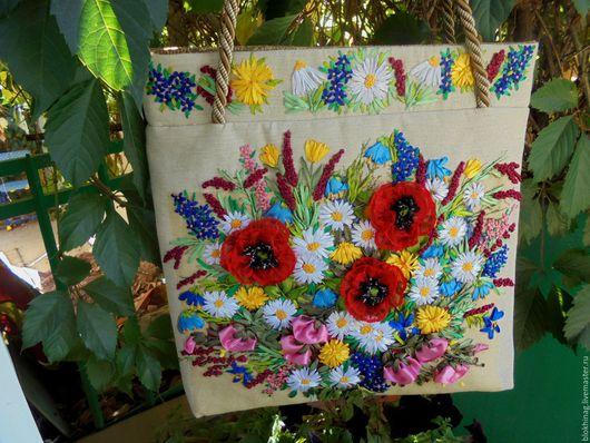 """Женские сумки ручной работы. Ярмарка Мастеров - ручная работа. Купить """"Мелодия лета"""" (зарезервирована). Handmade. Бежевый, вышитая сумка"""