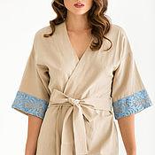 Одежда ручной работы. Ярмарка Мастеров - ручная работа Кимоно изо льна с кружевом. Handmade.