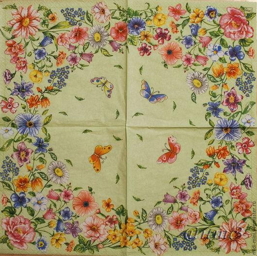 салфетка для декупажа  полевые цветы бабочки принт