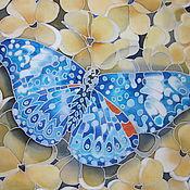 """Картины и панно ручной работы. Ярмарка Мастеров - ручная работа Батик- картина """"Бабочка"""". Handmade."""