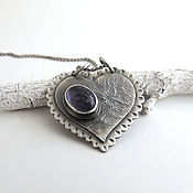 Украшения handmade. Livemaster - original item Bilateral silver heart pendant with tanzanite. Handmade.