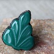 """Украшения ручной работы. Ярмарка Мастеров - ручная работа Кольцо """"Лист"""" зеленый оникс. Handmade."""