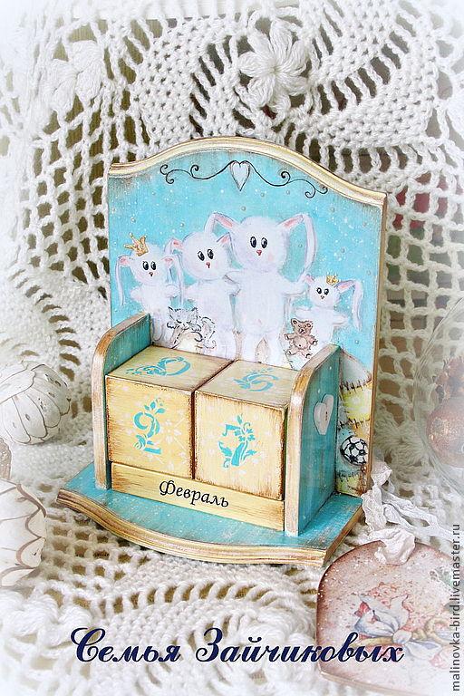 Календарь для веселой и счастливой семьи: мама-папа и две принцессы дочки) И конечно, любимый кот! От и До ручная роспись.