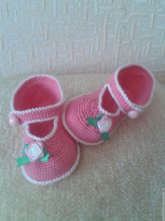 """Детская обувь ручной работы. Ярмарка Мастеров - ручная работа. Купить Детские пинетки-туфельки """"Розочки"""" ручной работы из хлопка. Handmade."""