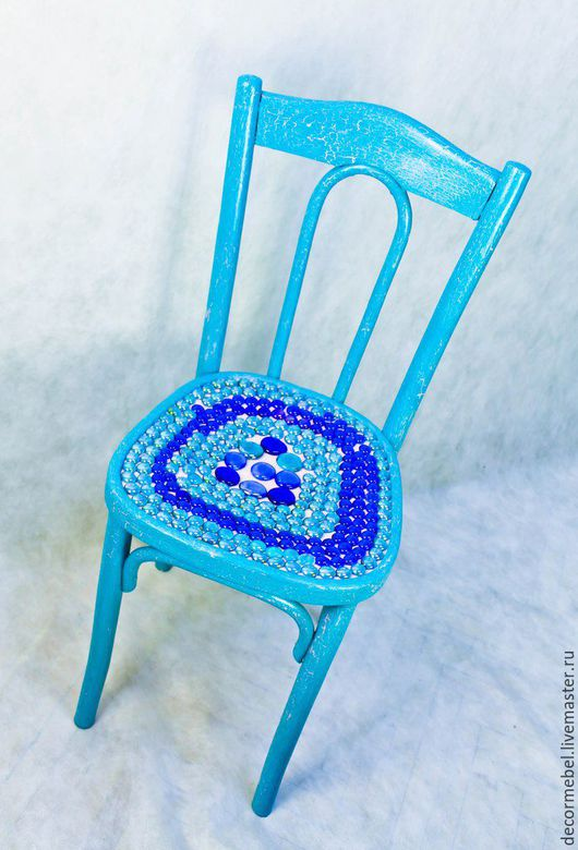 Мебель ручной работы. Ярмарка Мастеров - ручная работа. Купить Венский стул бирюзовый. Handmade. Бирюзовый, Стеклянные шарики, винтаж