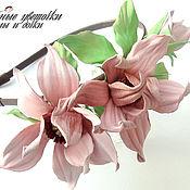 Украшения ручной работы. Ярмарка Мастеров - ручная работа Ободок из кожи цветущая розовая магнолия. Весна. Handmade.