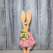 Мягкие игрушки ручной работы. Ярмарка Мастеров - ручная работа Заяц тильда из фетра с цветами. Handmade.