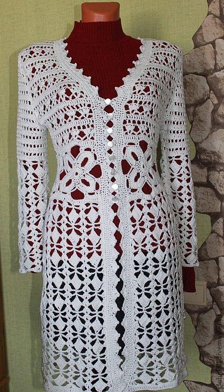 Верхняя одежда ручной работы. Ярмарка Мастеров - ручная работа. Купить белое ажурное пальто. Handmade. Белый, ажур