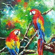 Картины и панно ручной работы. Ярмарка Мастеров - ручная работа Яркая парочка картина маслом на холсте, попугаи, птицы, тропики. Handmade.