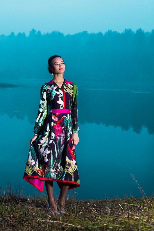 Платья ручной работы. Ярмарка Мастеров - ручная работа. Купить Шелковое платье-самурай. Handmade. Разноцветный, японский стиль