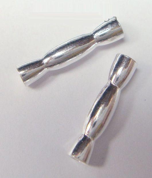 Для украшений ручной работы. Ярмарка Мастеров - ручная работа. Купить Бусина трубочка фигурная 12х2,5 мм Серебро 925. Handmade.