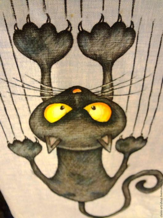"""Блузки ручной работы. Ярмарка Мастеров - ручная работа. Купить Рубашка """"Дикий кот"""". Handmade. Голубой, лен, дикий кот"""