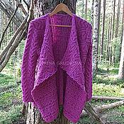 handmade. Livemaster - original item Pure wool cardigan, fuchsia color. Handmade.