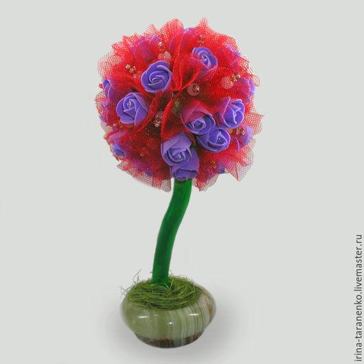 Дерево-топиарий из розового кварца `Радость`