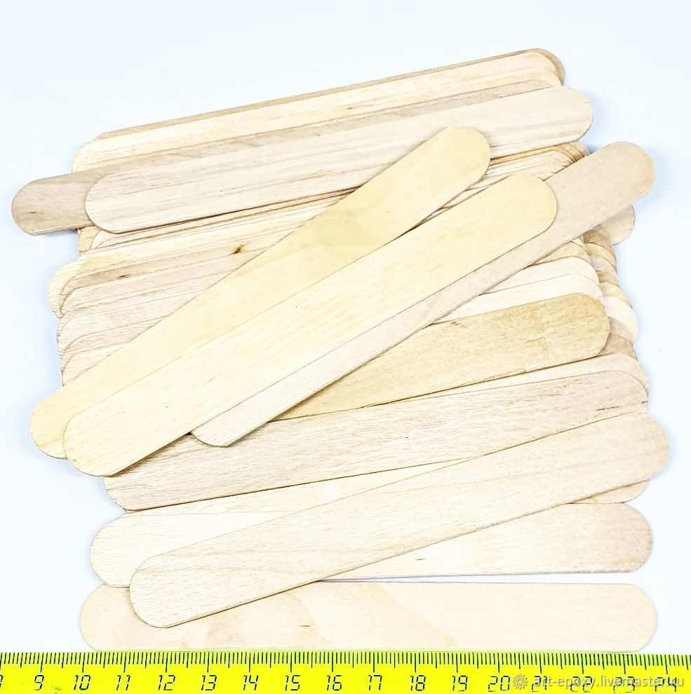 Wide wooden sticks, 50 PCs, Epoxy resin, Volgograd,  Фото №1