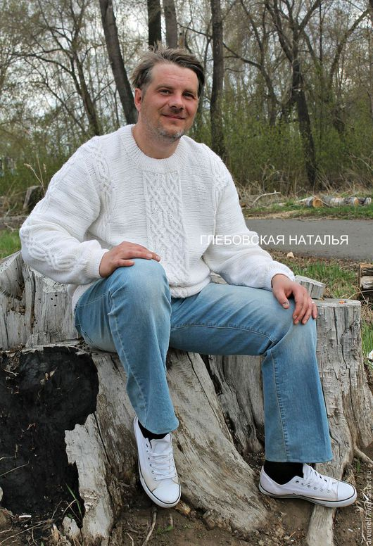 Для мужчин, ручной работы. Ярмарка Мастеров - ручная работа. Купить Белый  мужской полувер с аранами .. Handmade. свитер спицами