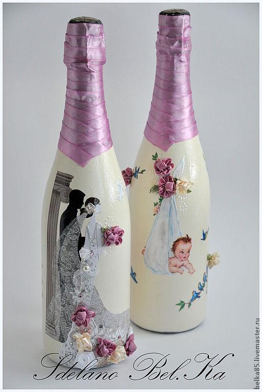 Декупаж бутылка шампанского на свадьбу своими руками