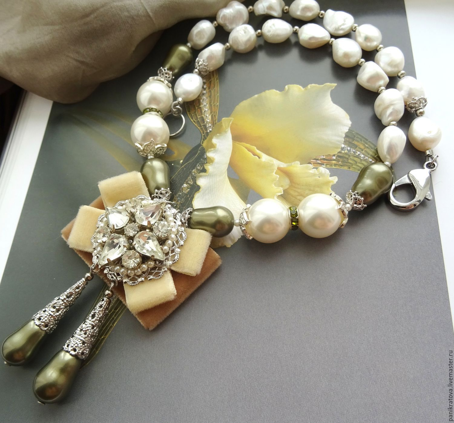 Necklace 'the Marquis' (Baroque pearls, pearls Majorca, Bohemian glass), Necklace, Moscow,  Фото №1