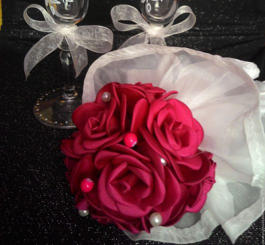 Свадебные цветы ручной работы. Ярмарка Мастеров - ручная работа. Купить Букет (дублер для невесты). Handmade. Фуксия, свадебный аксессуар