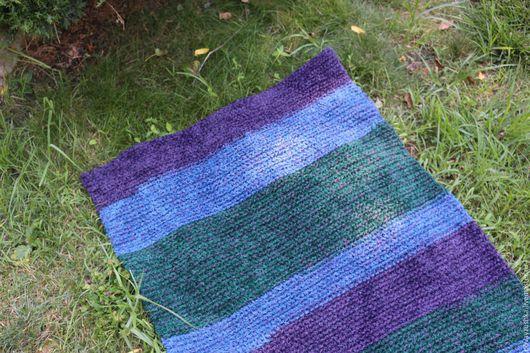 """Текстиль, ковры ручной работы. Ярмарка Мастеров - ручная работа. Купить вязаный коврик """"Полосатый Пушистик"""" прямоугольный. Handmade. Комбинированный"""