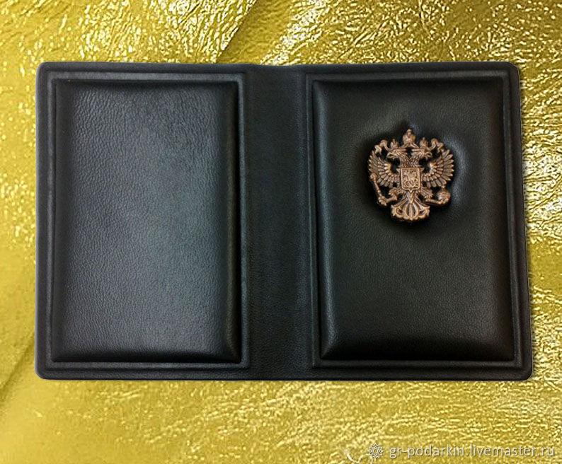 """Обложка на паспорт """"Ваше благородие"""" из натуральной коричневой кожи, Passport cover, Essentuki,  Фото №1"""