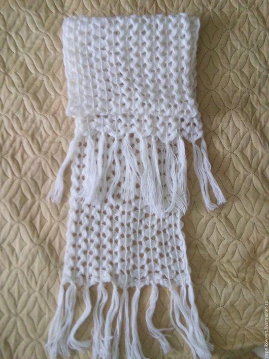 Шарфы и шарфики ручной работы. Ярмарка Мастеров - ручная работа. Купить шарф. Handmade. Белый, шарф вязаный, пряжа