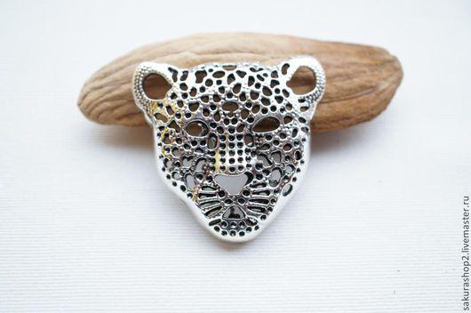 Для украшений ручной работы. Ярмарка Мастеров - ручная работа. Купить Подвеска морда леопарда под серебро 50х48мм. Handmade.