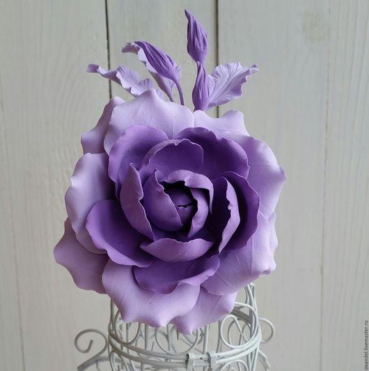 Броши ручной работы. Ярмарка Мастеров - ручная работа. Купить Зажим-брошь сиреневая роза. Handmade. Сиреневый, брошь-цветок