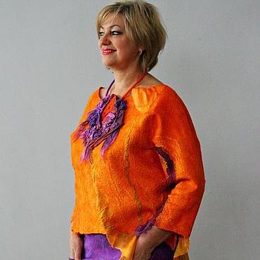 """Одежда ручной работы. Ярмарка Мастеров - ручная работа Комплект блуза и юбка """"Orange summer"""".. Handmade."""