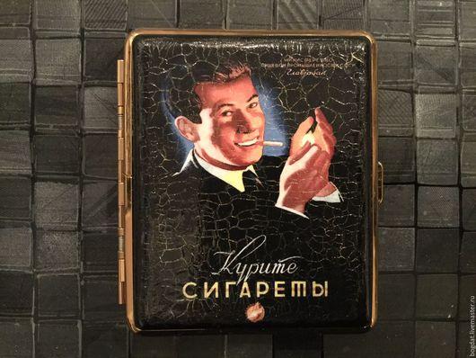 """Подарки для мужчин, ручной работы. Ярмарка Мастеров - ручная работа. Купить Портсигар """"Курите сигареты"""". Handmade. Черный, подарок парню"""