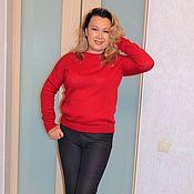 Одежда ручной работы. Ярмарка Мастеров - ручная работа Мохеровый джемпер   красный  размер 46. Handmade.