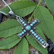 handmade. Livemaster - original item Men`s cross with turquoise in 925 sterling silver HH0068. Handmade.