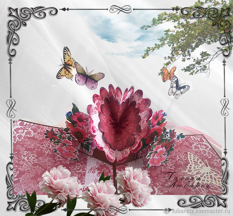 Поп-ап открытка Розовый цветок, Открытки, Ярославль,  Фото №1