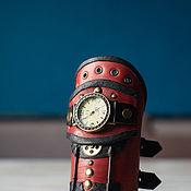 Аксессуары ручной работы. Ярмарка Мастеров - ручная работа Красный стимпанк-браслет с часами. Handmade.
