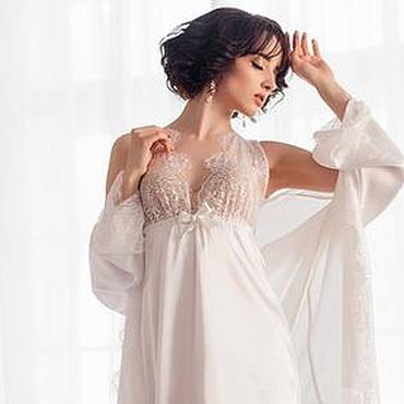 """Одежда ручной работы. Ярмарка Мастеров - ручная работа Кимоно и сорочка """"Моя прекрасная Леди"""" - белый комплект с кружевом. Handmade."""